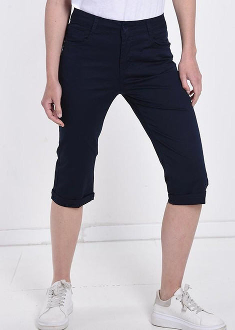 Navy Crop Trousers