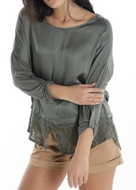 Khaki Silk and Lace Blouse