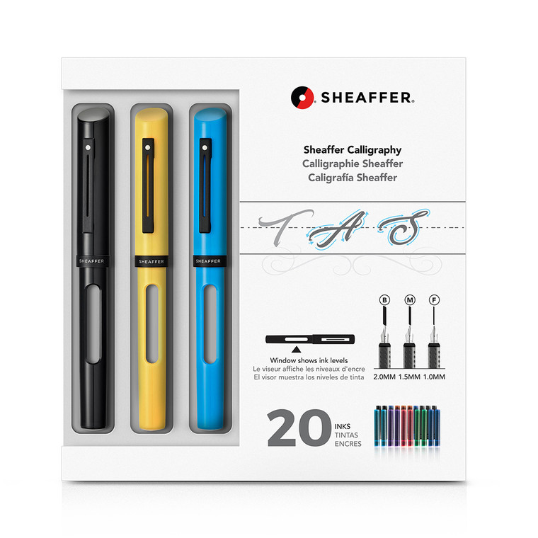 Calligraphy Maxi Kit with Black, Yellow, and Blue Pens and Assorted Nibs and Inks