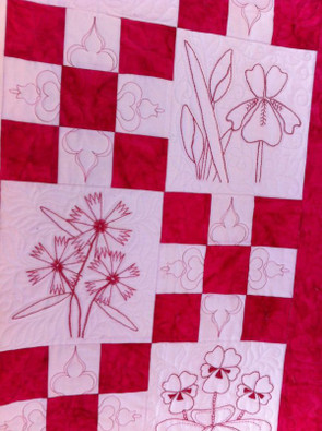 Red & White Embroidered Quilt