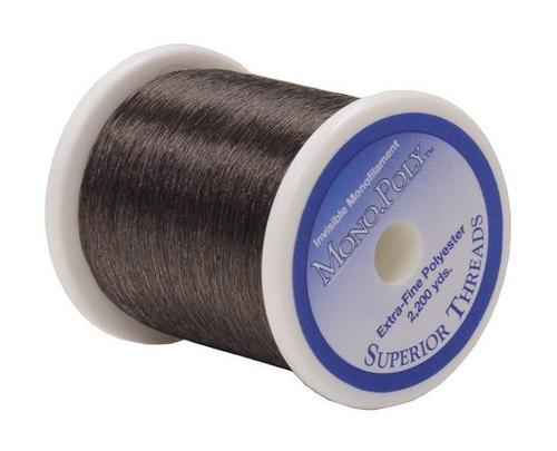 "Mono.Poly - Smoke - Spool - 2200 yds - .004"" Monofilament Polyester Quilting Thread For Dark Fabrics"