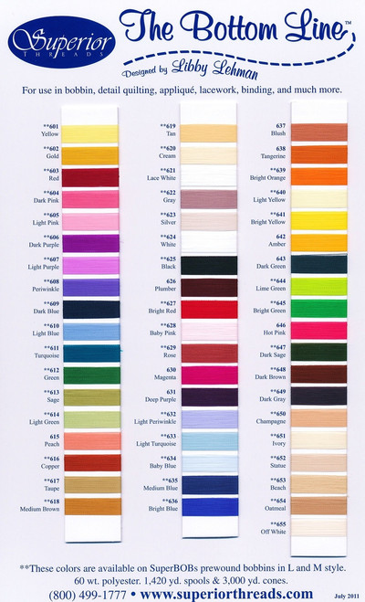 Bottom Line Quilting Thread - Sample Color Card