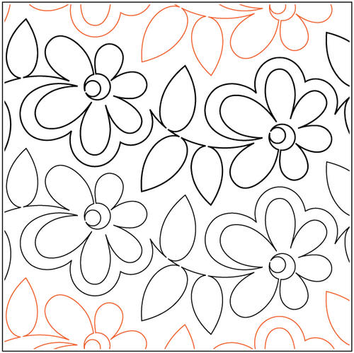 "Daisy Dotz 6"" Pantograph / E2E Quilting Design on Paper"