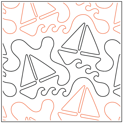 "Going Sailing 8.75"" Pantograph / E2E Quilting Design on Paper"