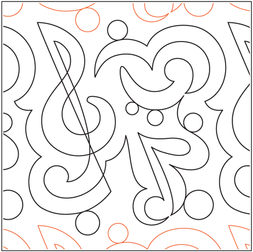 "Symphony 10.5"" Pantograph / E2E Quilting Design on Paper"