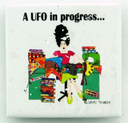 """A UFO in Progress"" Ceramic Magnet"