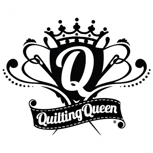 """Quilting Queen"" White Vinyl Window Decal"