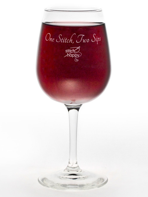"""One Stitch, Two Sips"" 12 oz Wine Glass"