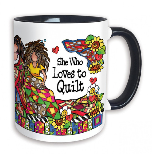 """She Who Loves to Quilt"" 11 oz Mug"