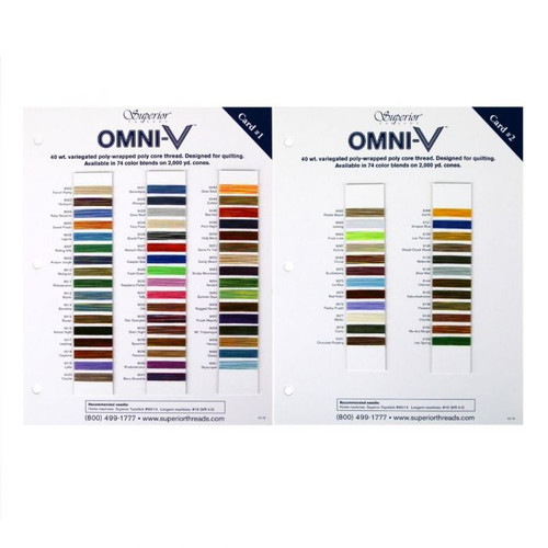 OMNI-V Sample Color Cards - Variegated Poly-wrapped Poly Core Machine Quilting Thread