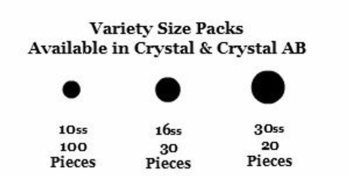 Hotfix Flat Back Crystals - Size Variety Packs
