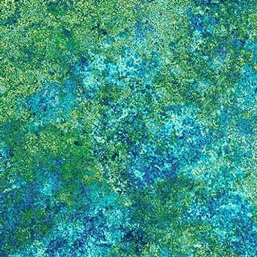 "Stonehenge Blue/Green 108"" Cotton Wide Back Quilt Fabric by Linda Ludovico"