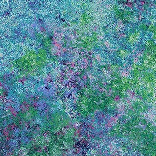"""Stonehenge Pink/Blue/Green 108"""" Cotton Wide Back Quilt Fabric by Linda Ludovico"""