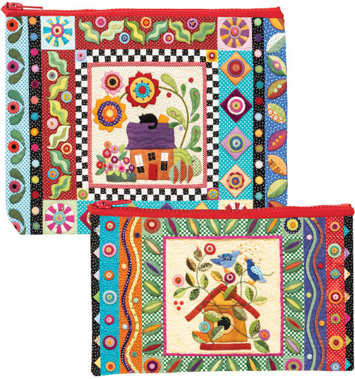 Colorful Creatures Eco Pouch Set - Designed by Erica Kaprow