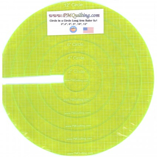 Longarm Circle Glow Edge Nested Ruler - 6 Piece Set from PM Quilting