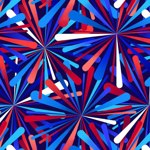 "Smashing Atoms Patriotic 108"" Cotton Wide Back Quilt Fabric by Color Principle"