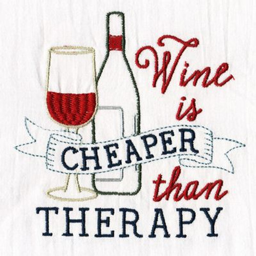 """Wine Is Cheaper"" Pun Tea Towel"