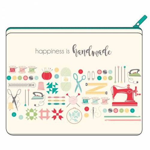 Happiness Is Handmade Canvas Zipper Pouch - Designed by Lori Holt from Riley Blake Designs