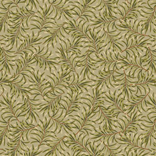 """Boughs of Beauty - Moss Green 108"""" Cotton Wide Back Quilt Fabric"""