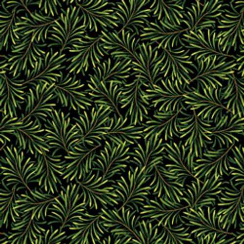 """Boughs of Beauty - Black/Green 108"""" Cotton Wide Back Quilt Fabric"""