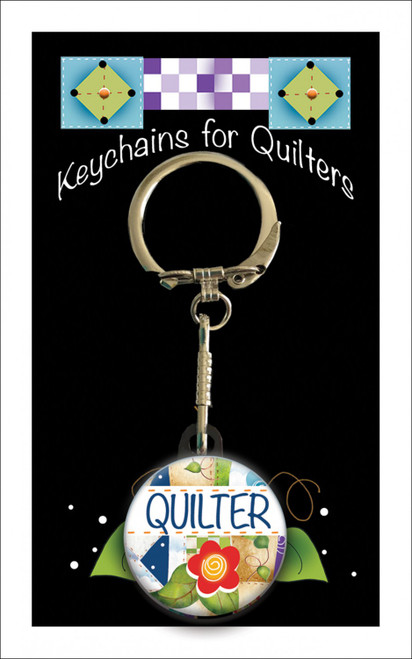 """Quilter (word)"" Keychain with Chain by Jody Houghton"
