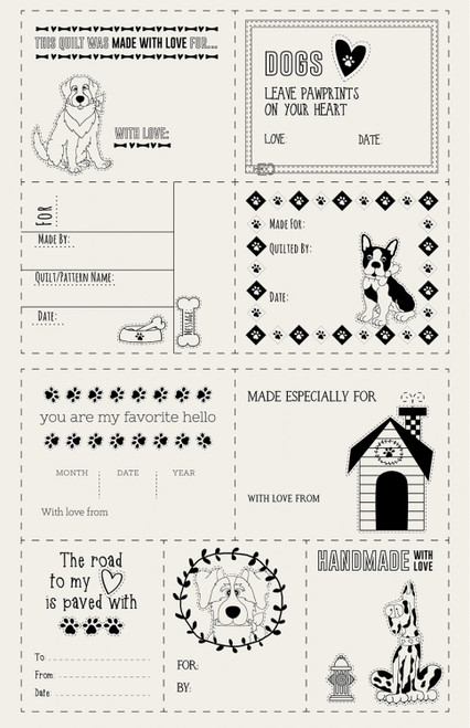 Dog Quilt Label Panel - Set of 9 Cut Apart Labels