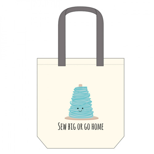 """Sew Big Or Go Home"" Canvas Tote Bag - Designed by Riley Blake"