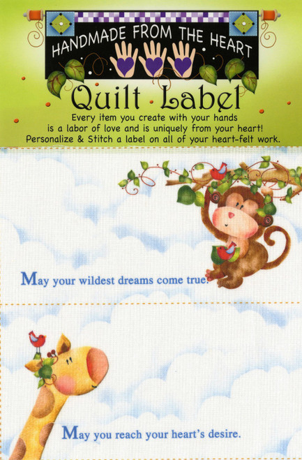 Monkey & Giraffe Quilt Label Panel - Set of 4 Cut Apart Labels