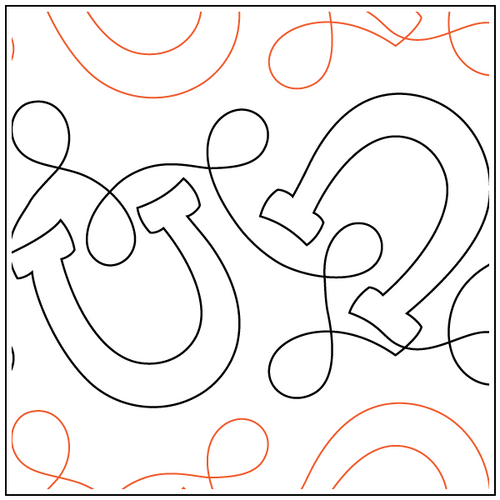 """Horseshoes & Loops 8.25"""" Pantograph / E2E Quilting Design on Paper"""