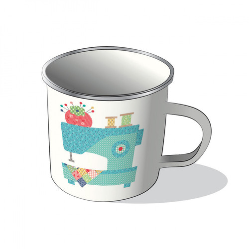 Vintage Happy 2 - Patchwork Machine 20 oz Enamelware Camp-Style Mug