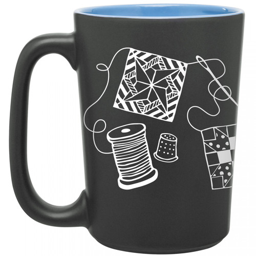 Scribbles Sewing Themed Blue Mug