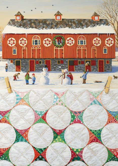 Red Barn Snowball Quilt Christmas Greeting Cards