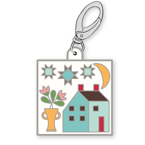 Prim House Enamel Zipper Pull Charm/Keychain - Designed by Riley Blake