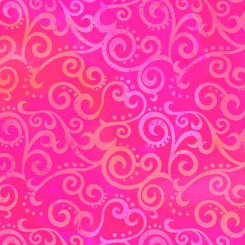 "Ombre Scroll Hot Pink 108"" Cotton Wide Back Quilt Fabric"
