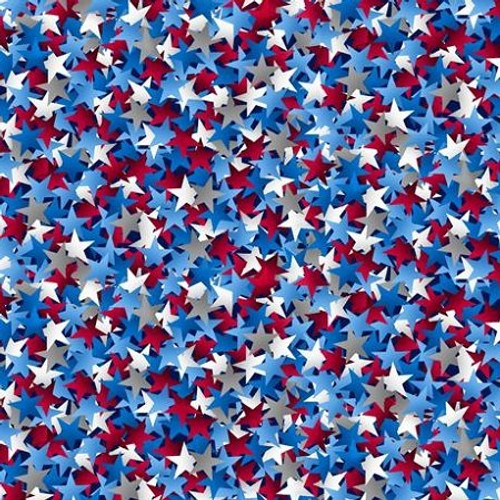 "Star Struck Red, White, and Blue 108"" Cotton Wide Back Quilt Fabric"