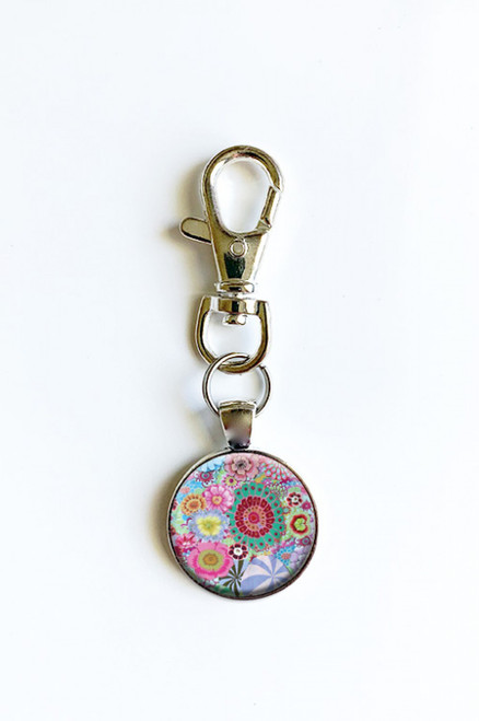 Kaffe Fassett Flower Scissor Fob with Swivel Clip Keychain