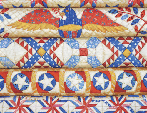 Stacked Patriotic Quilts Note Cards