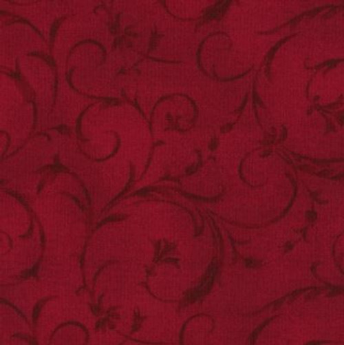 "Elegant Scroll Crimson Red 108"" Cotton Wide Back Quilt Fabric"