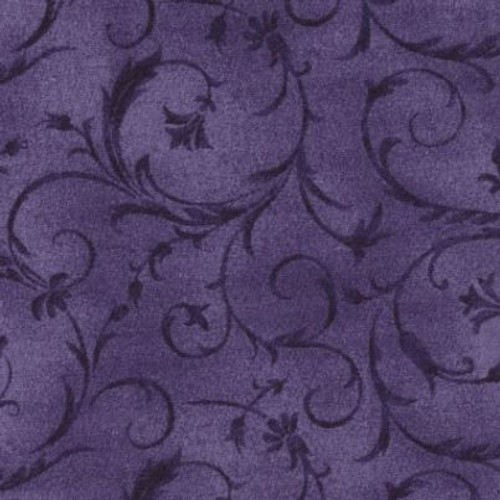 "Elegant Scroll Light Violet 108"" Cotton Wide Back Quilt Fabric"