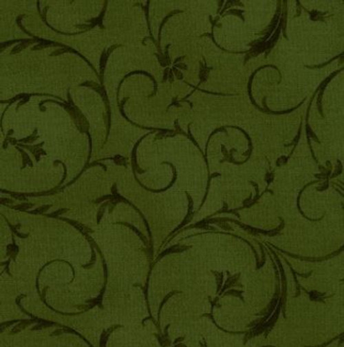 "Elegant Scroll Forest Green  108"" Cotton Wide Back Quilt Fabric"