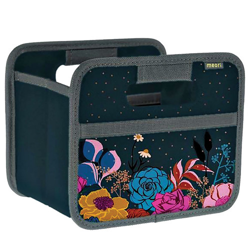Foldable Mini Storage Box - Navy Shine with Flowers