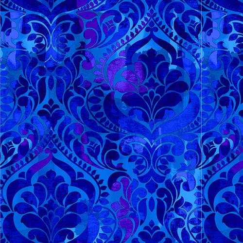 "Damask Royal - Fiorenza Digital 108"" Cotton Wide Back Fabric"