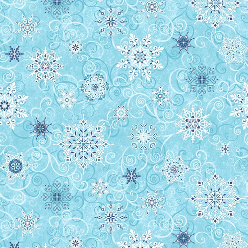 """Falling Snowflakes Frosty Blue - Frozen Melodies - 108"""" Cotton Wide Back Quilt Fabric"""