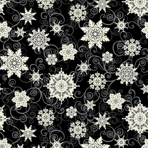 "Falling Snowflakes Black - Frozen Melodies - 108"" Cotton Wide Back Quilt Fabric"