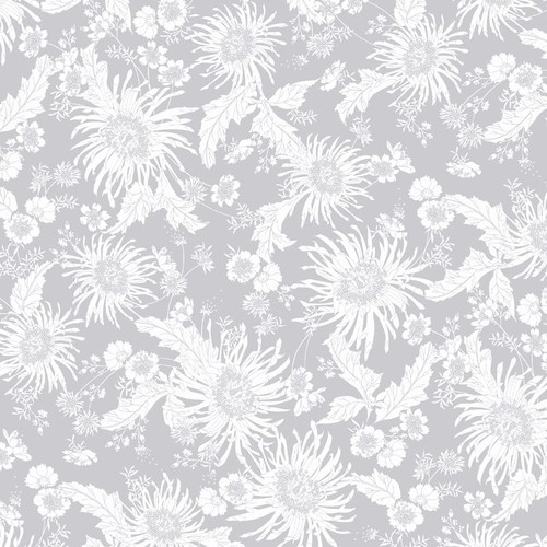 """Bloom Floral Two Tone Light Gray - 108"""" Cotton Wide Back Quilt Fabric"""