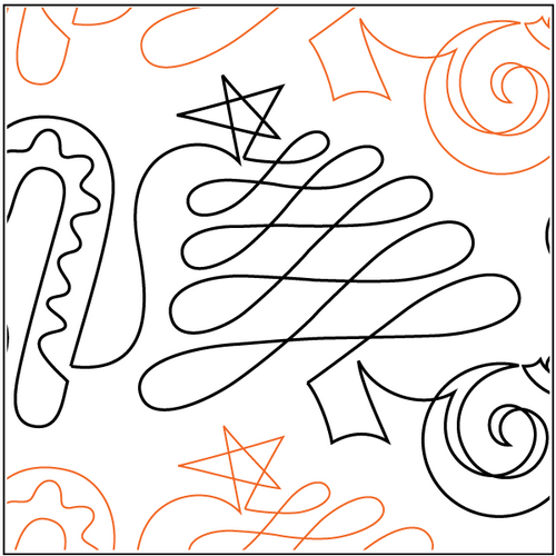 "Christmas Doodle 10"" Pantograph / E2E Quilting Design on Paper"