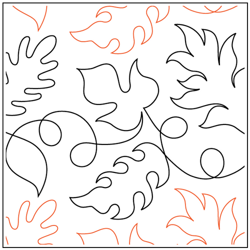 """Dave's Falling Leaves 10.5"""" Pantograph / E2E Quilting Design on Paper"""