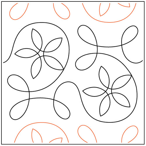 """Ginger Spring 9"""" Pantograph / E2E Quilting Design on Paper"""