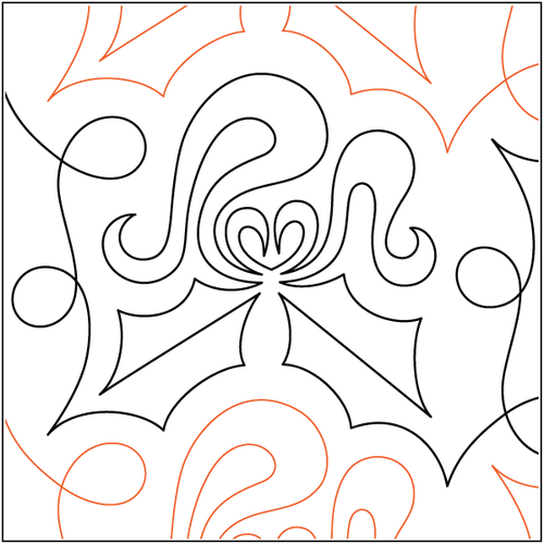 """Holly Bows 10"""" Pantograph / E2E Quilting Design on Paper"""