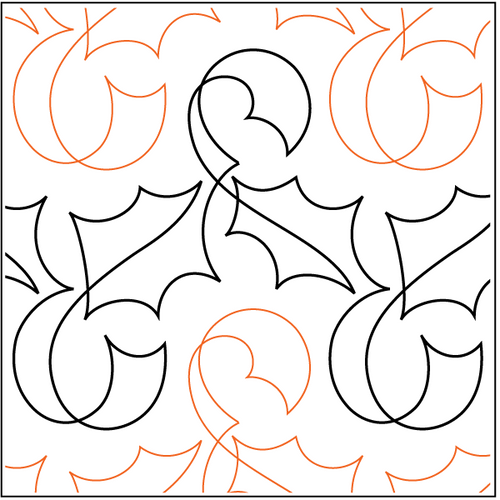 """Holly Ribbon 9"""" Pantograph / E2E Quilting Design on Paper"""